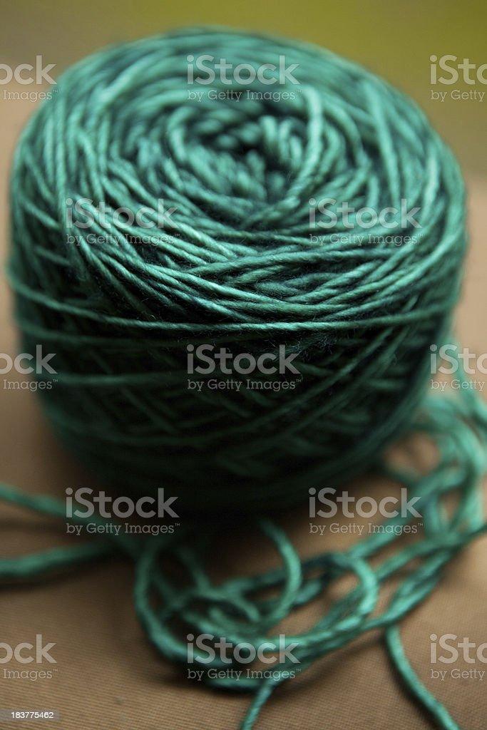 Green Merino Wool yarn stock photo