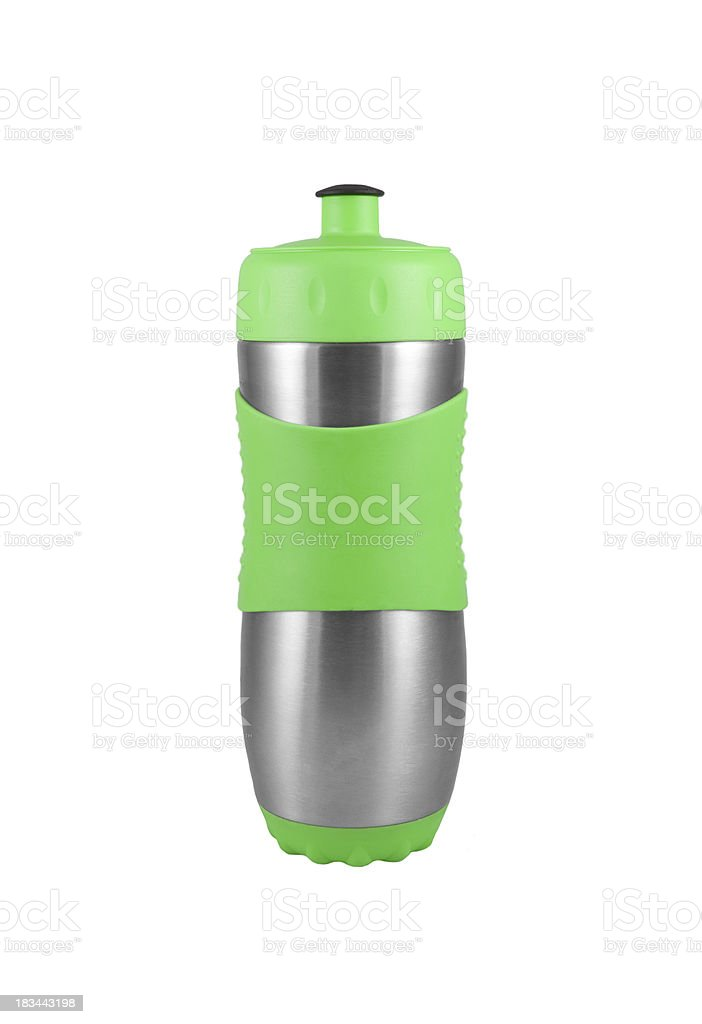 Green metal camping water bottle isolated on white. stock photo