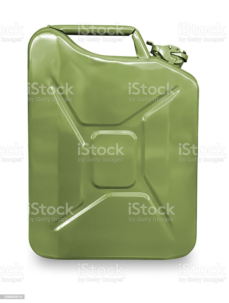 Green metal canister for gasoline on a white background. stock photo