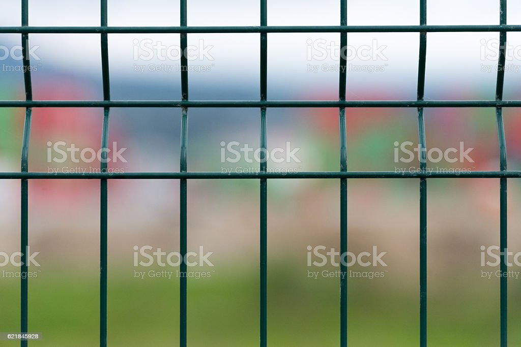 green metal grille close up stock photo