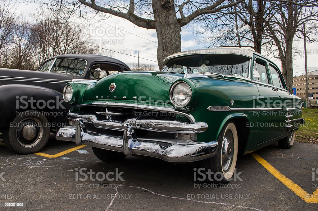 Green Meteor displayed at Cars and Coffee Halifax stock photo
