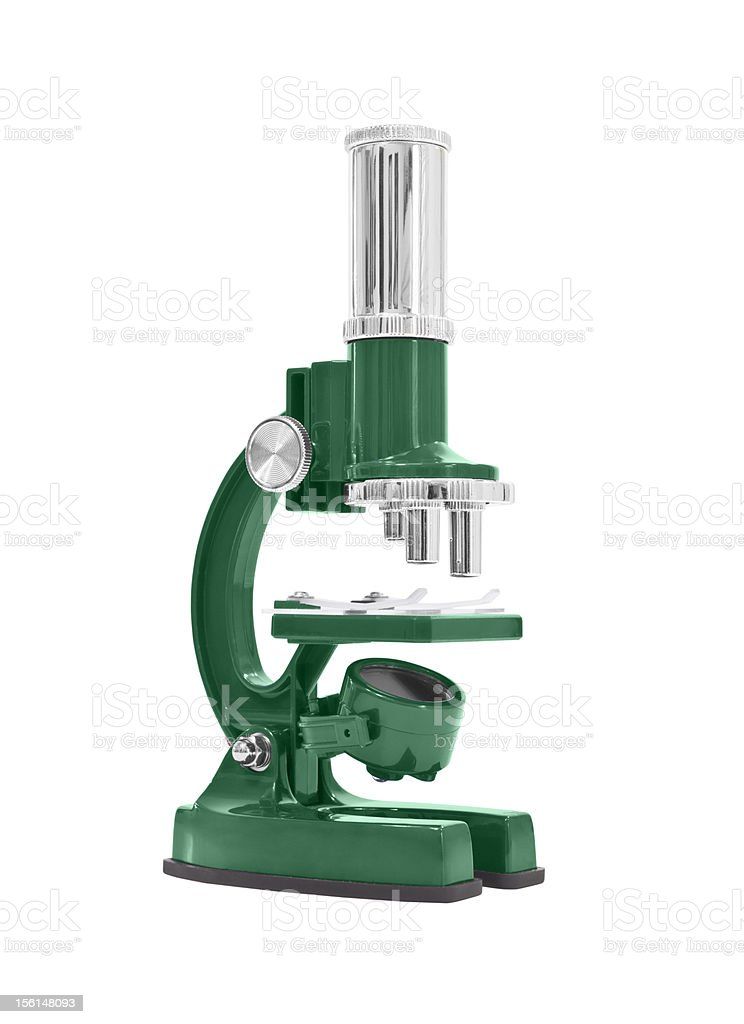 Green Microscope Isolated on White royalty-free stock photo
