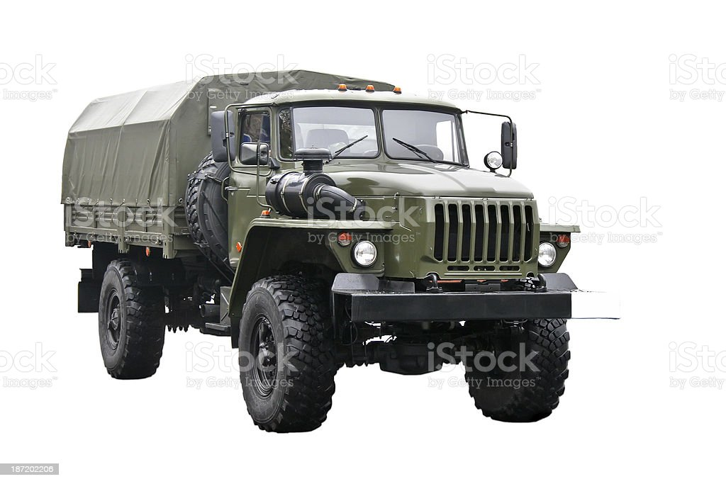 A green military truck on a white background  stock photo