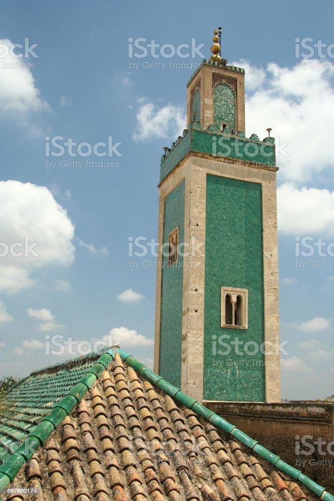 Green minaret stock photo