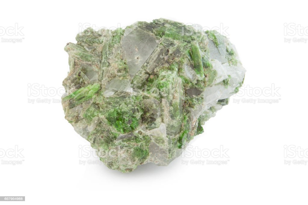 green mineral of clorite and quartz in white background stock photo