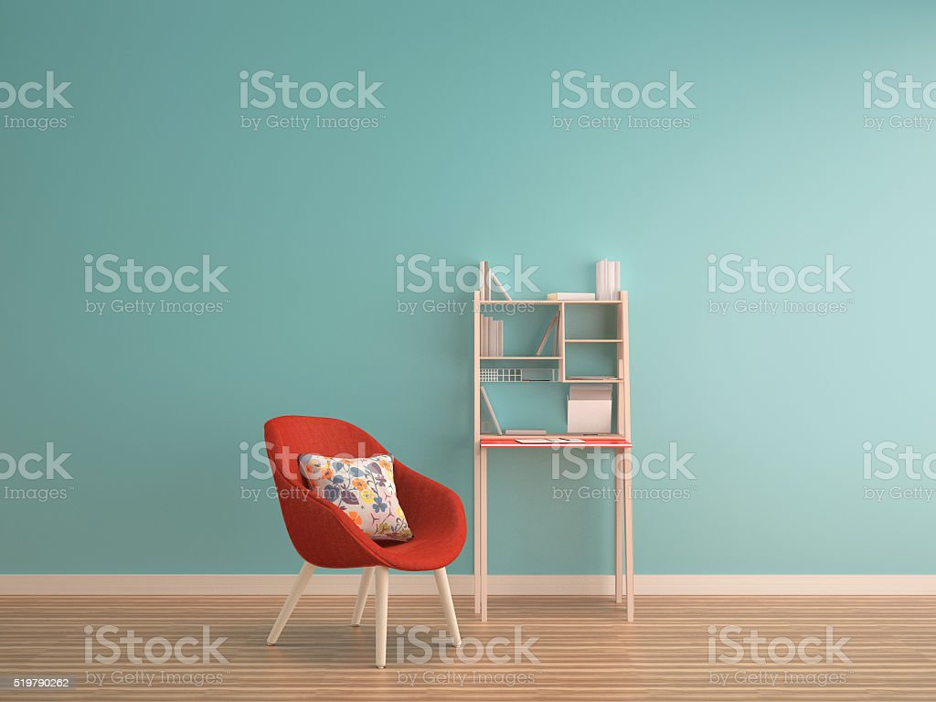 green mint wall on wood floor with working table stock photo