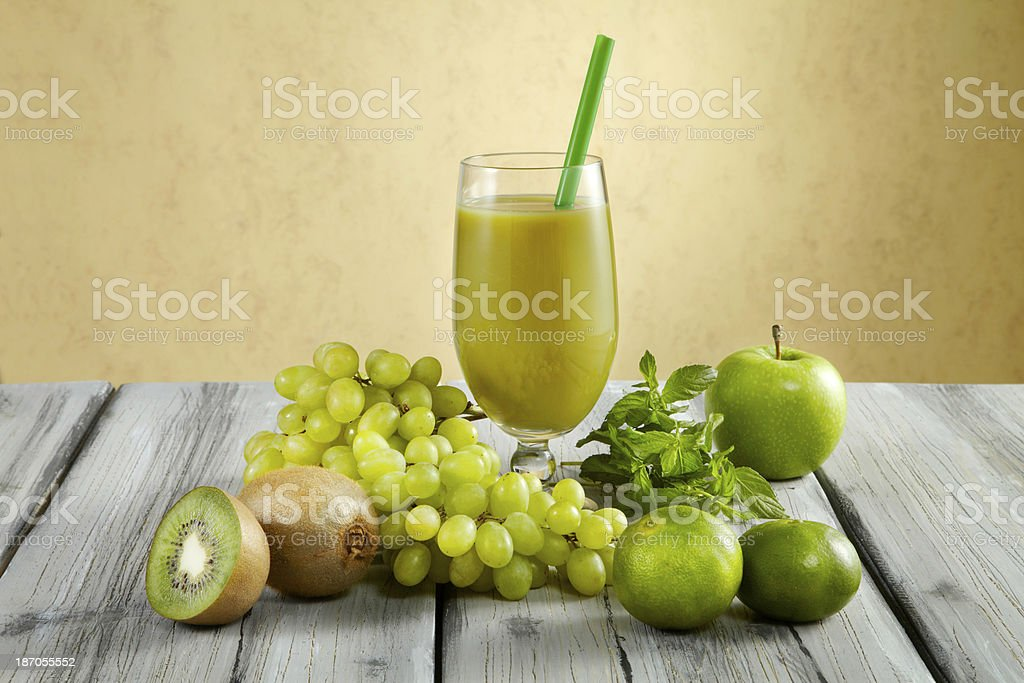 Green Mix Fruits Juice royalty-free stock photo
