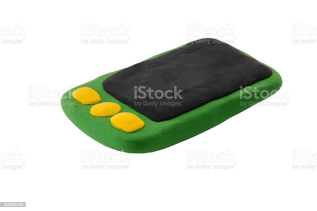 green mobile smart phone made from plasticine stock photo