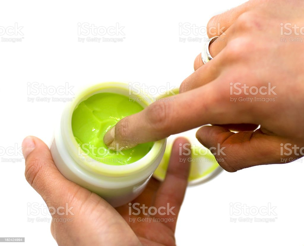 green moisturizer - Avocadocreme stock photo