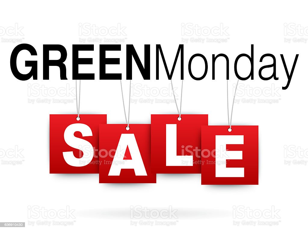 Green Monday sale on white stock photo