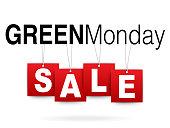 Green Monday sale on white