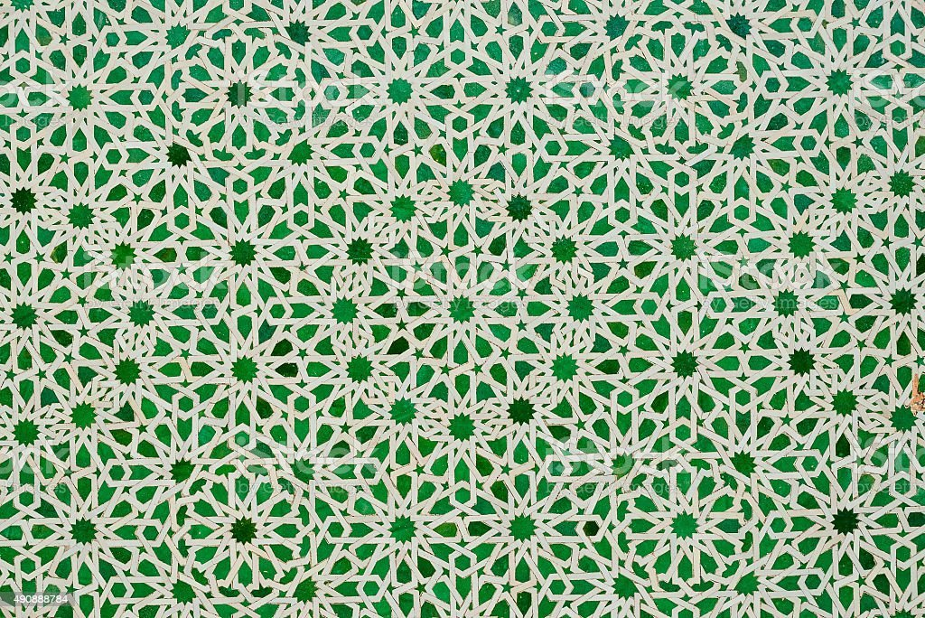 green moroccan tiles stock photo