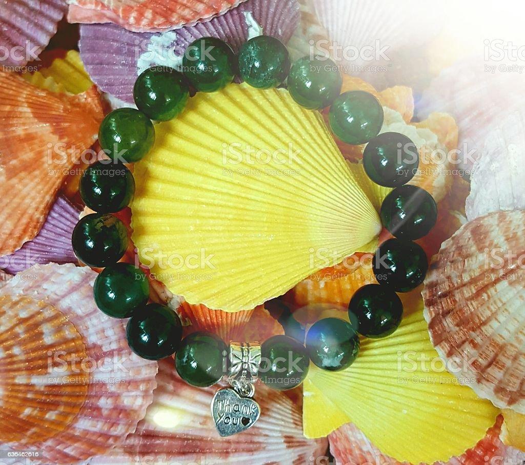 Green Moss Agate Bracelet stock photo