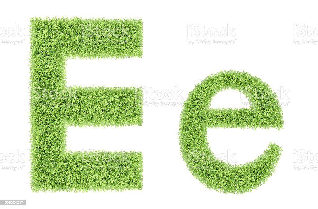 green moss alphabet, E stock photo