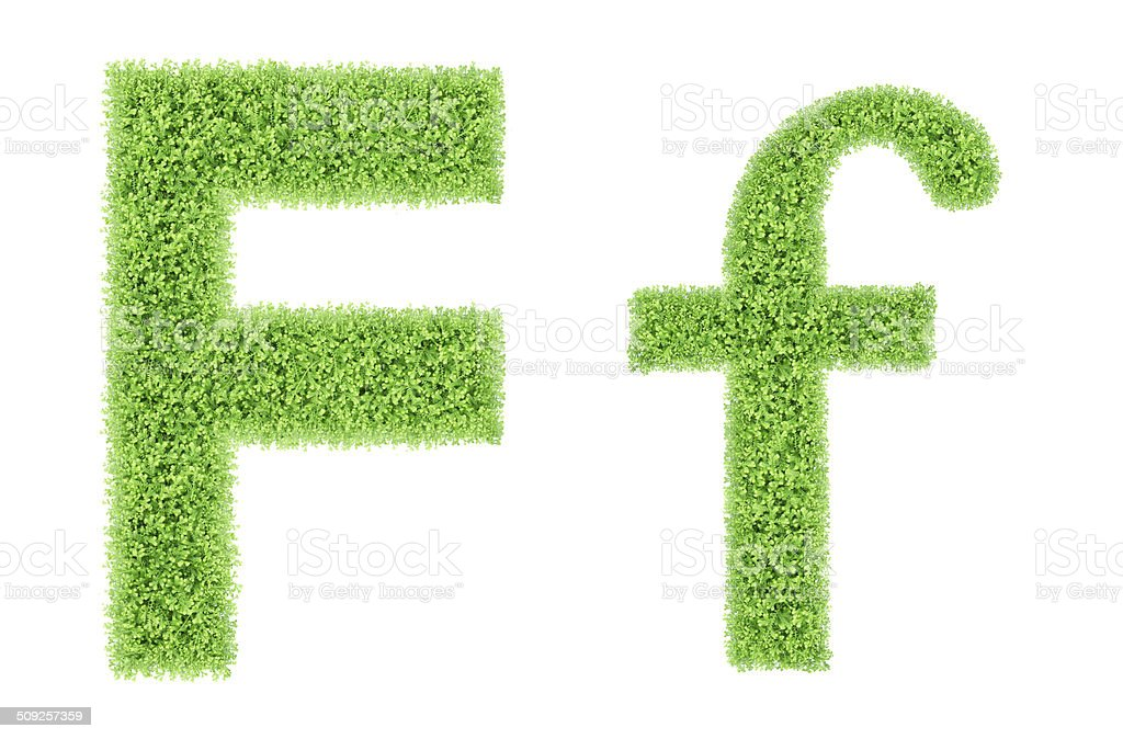 green moss alphabet, F stock photo