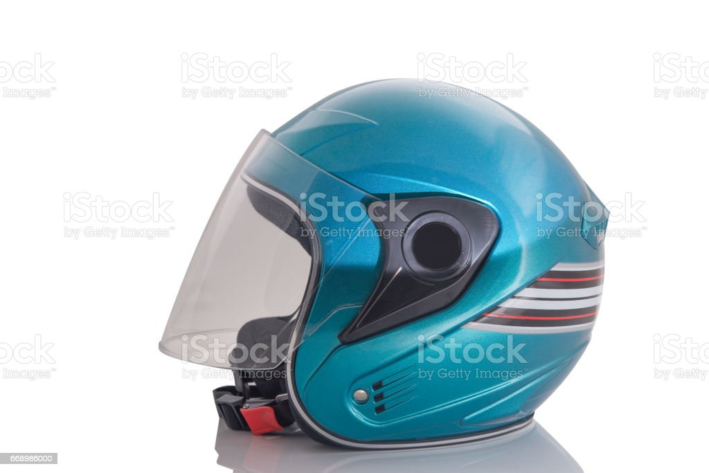 Green motorcycle helmet Isolated on white background stock photo