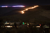 Green Mountain Fire Lakewood Colorado firefighters flames above homes night