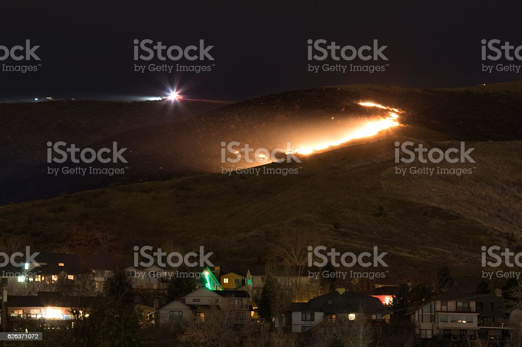 Green Mountain Fire Lakewood Colorado firefighters flames above homes night stock photo
