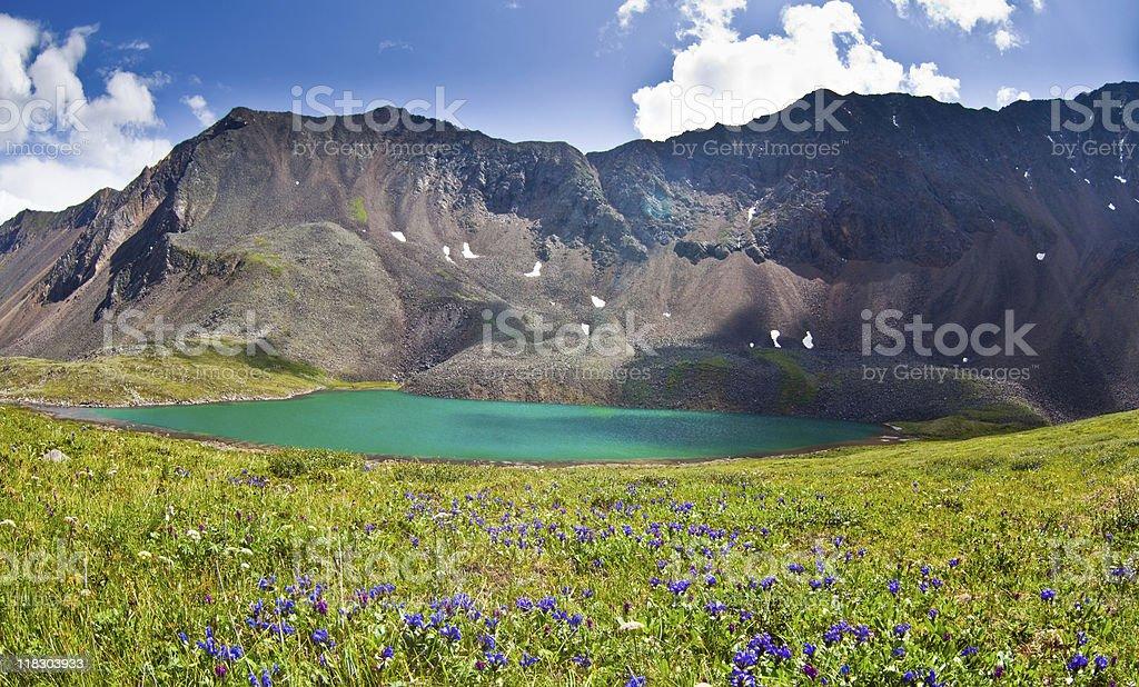 Green mountain lake stock photo