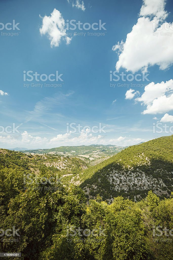 Green mountains and blue sky, Assisi, Italy royalty-free stock photo