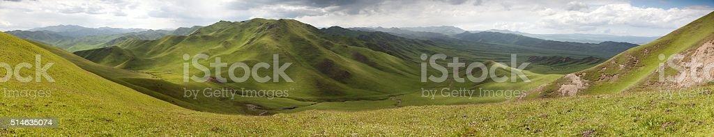 green mountains - East Tibet - Qinghai province - China stock photo