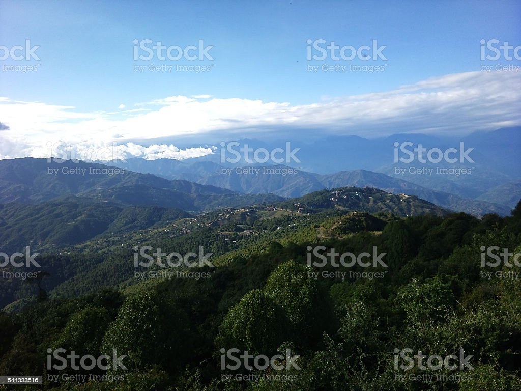 Green Mountains in The Morning stock photo