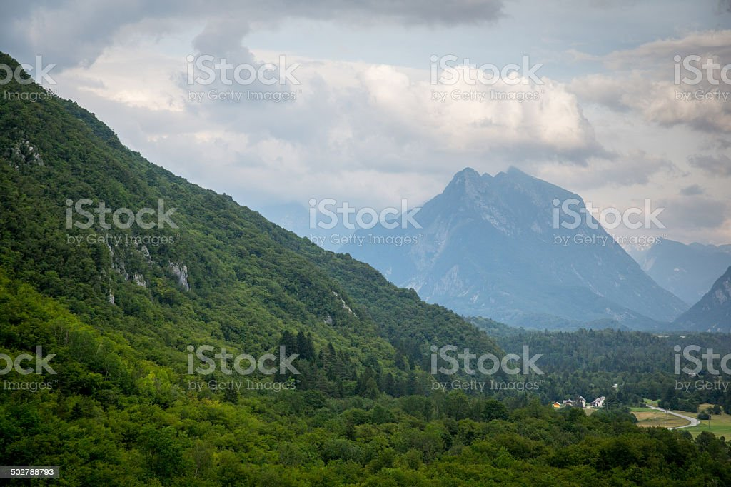 Green mountains with clouds stock photo