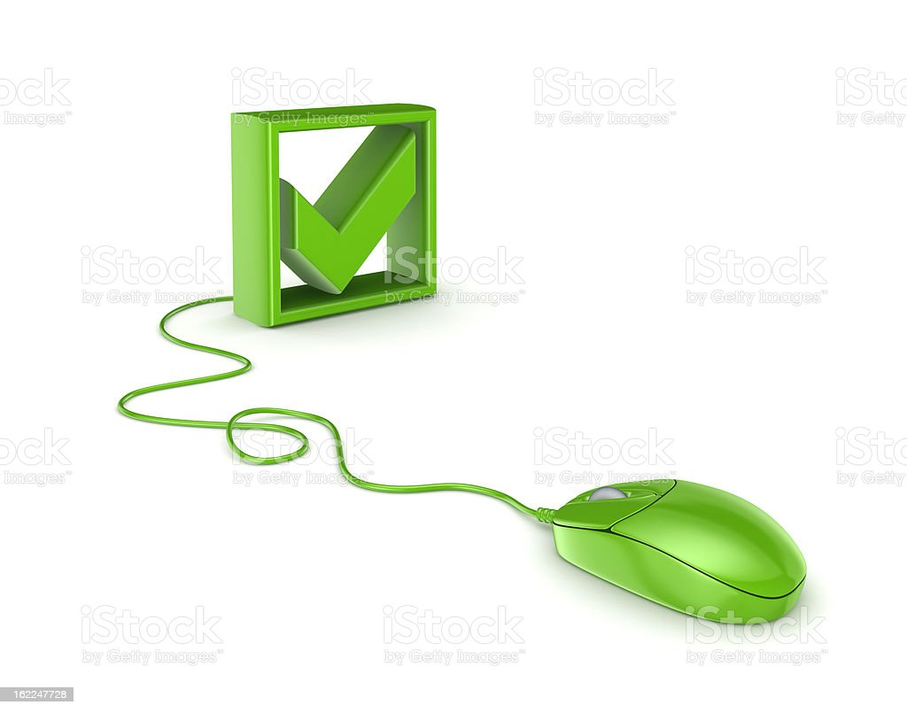 Green mouse and tick mark. royalty-free stock photo