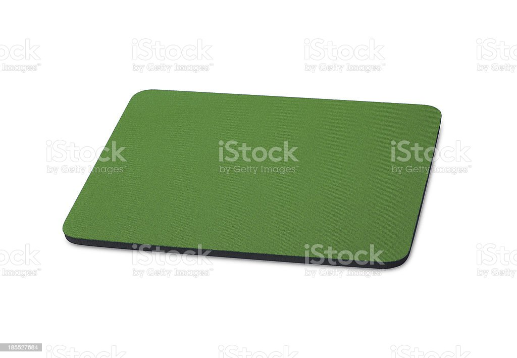 green mouse pad on the white background stock photo
