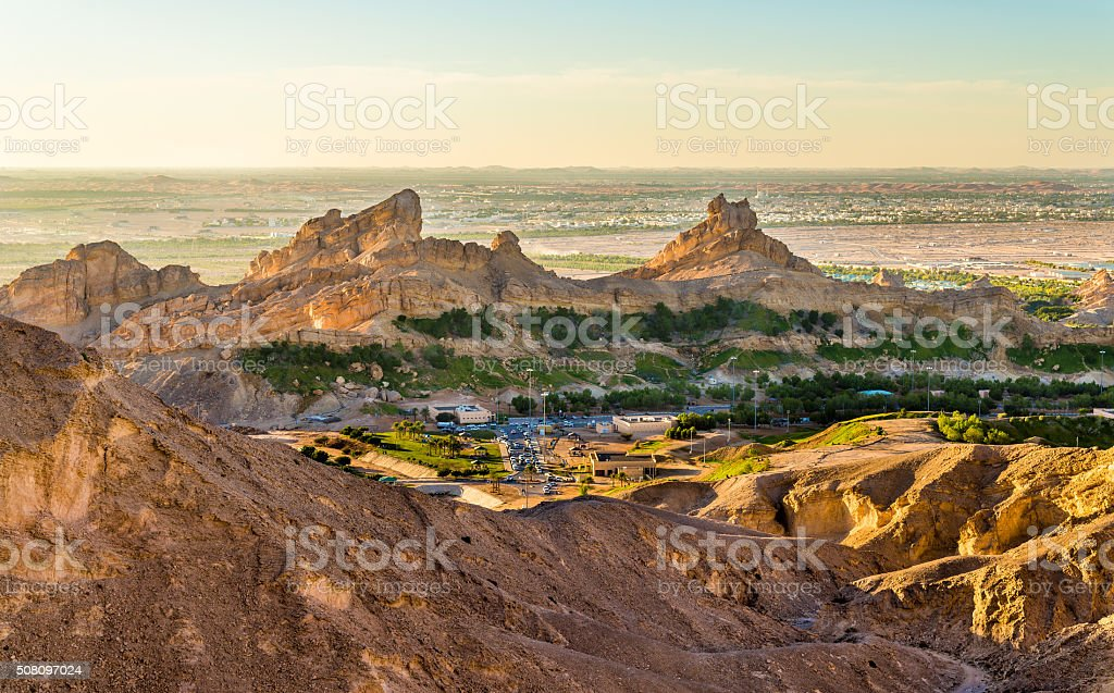 Green Mubazzarah resort as seen from Jabel Hafeet mountains, UAE stock photo