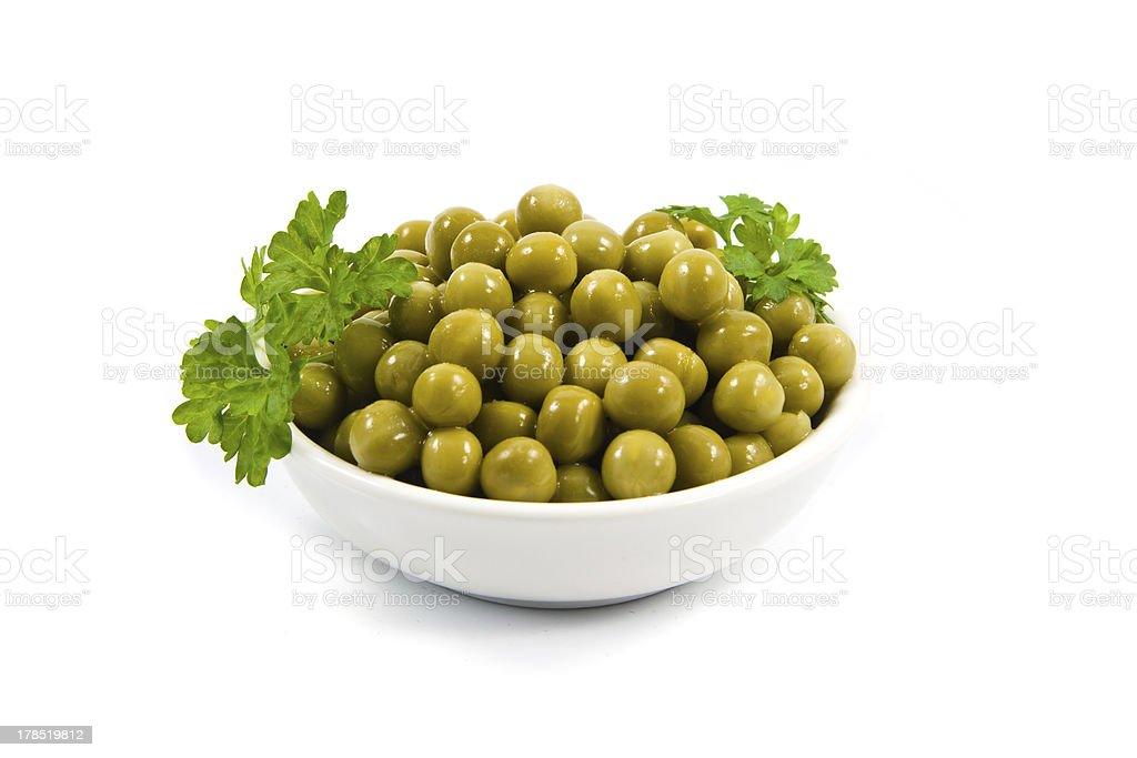 Green mung beans in bowl  isolated on white royalty-free stock photo