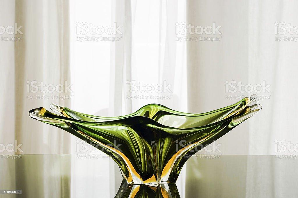 Green Murano Glass  Plate stock photo
