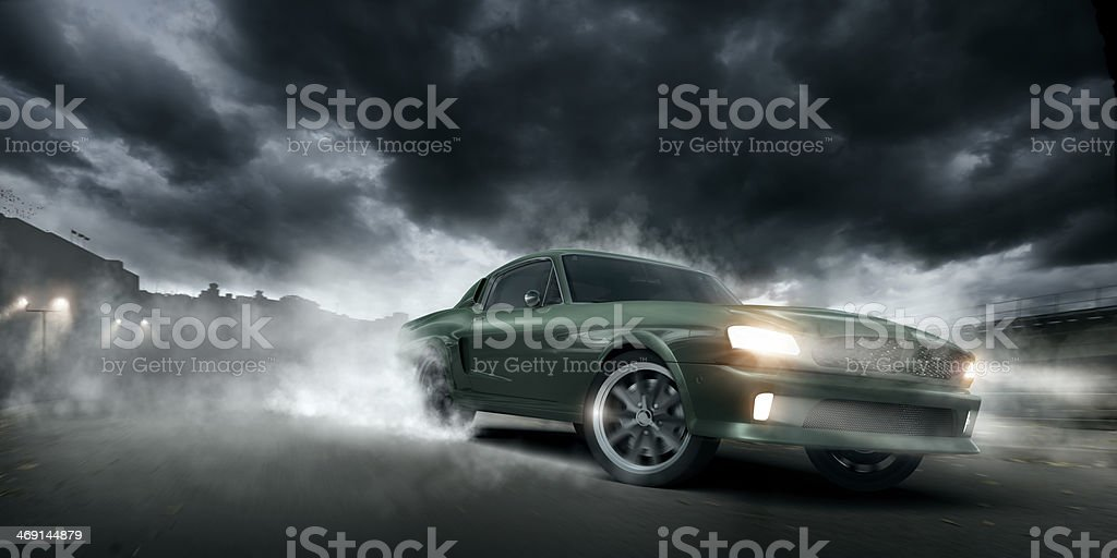 Green Muscle Car Burnout stock photo