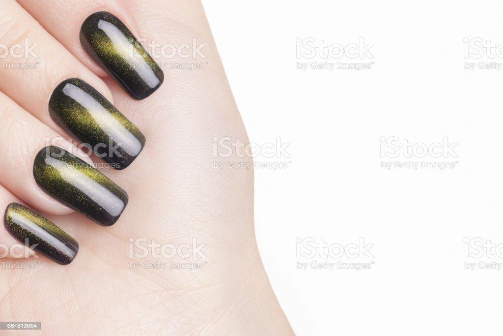 Green nail polish. stock photo