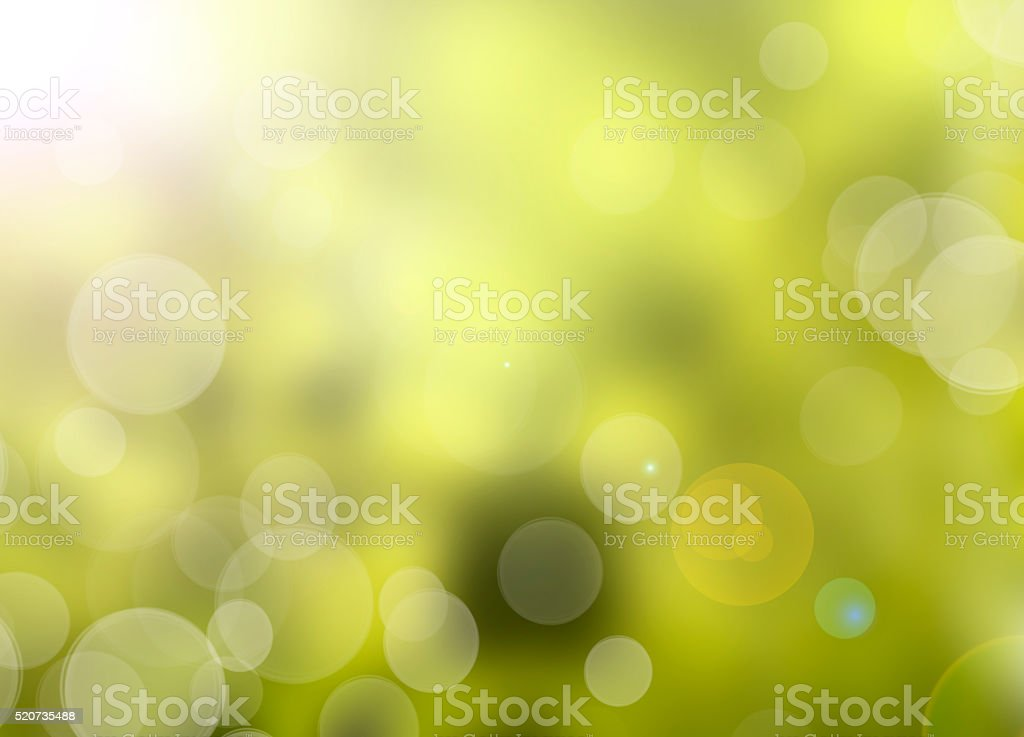 Green nature background with abstract bokeh lights stock photo