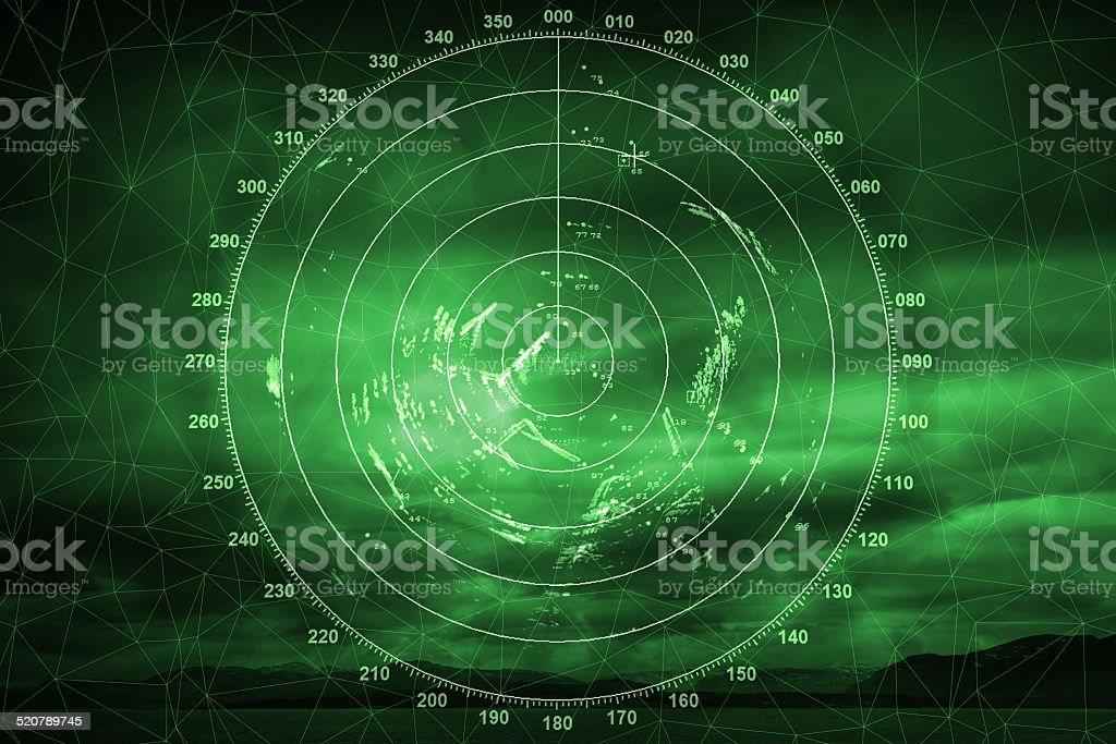 Green navigation system screen with radar image stock photo