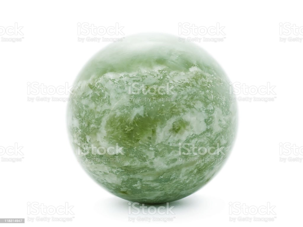 Green nephrite ball isolated on white stock photo
