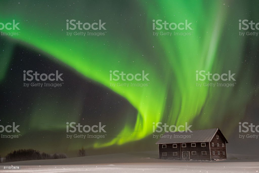 Green nights in Northern Sweden stock photo