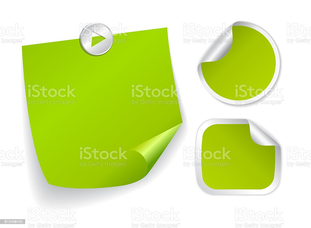 Green note papers stock photo