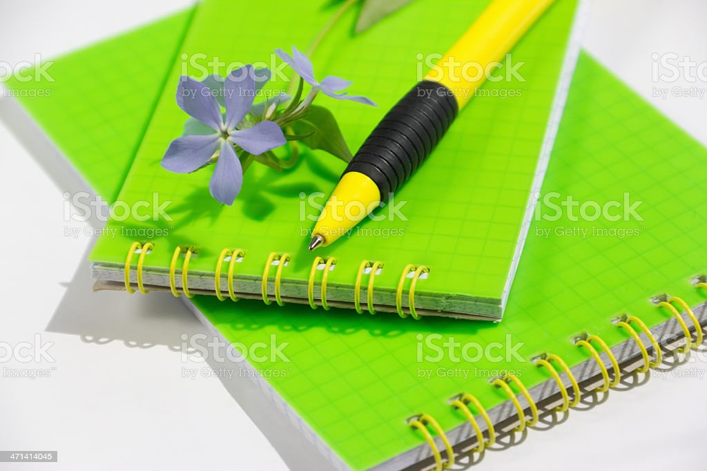 Green notebooks with yellow pen and flower royalty-free stock photo
