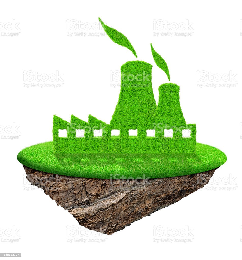 Green nuclear power plant icon stock photo
