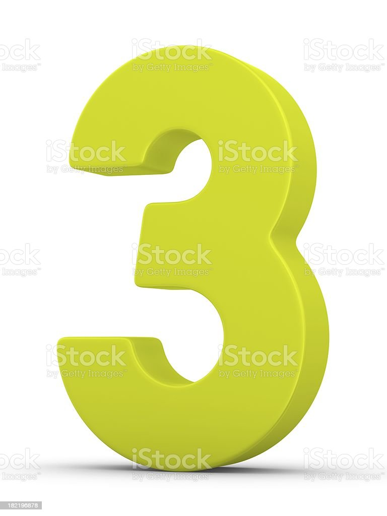 green number 3 stock photo