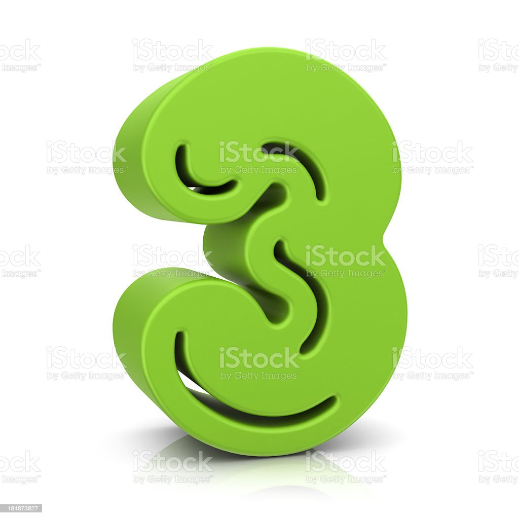 Green Number 3 royalty-free stock photo