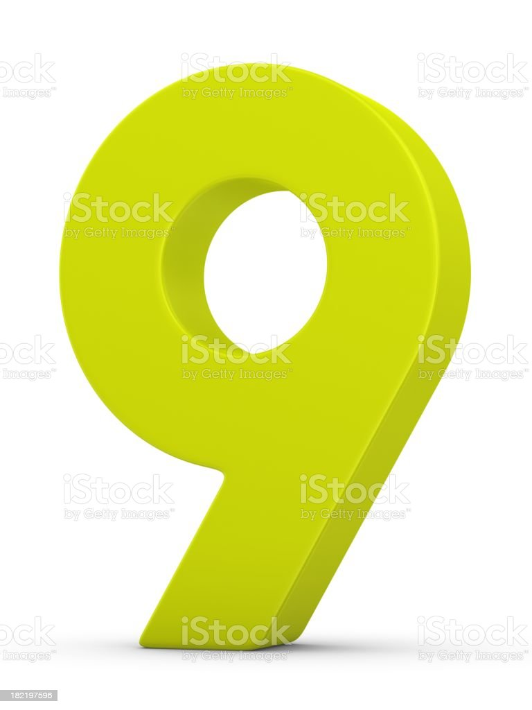 green number 9 stock photo