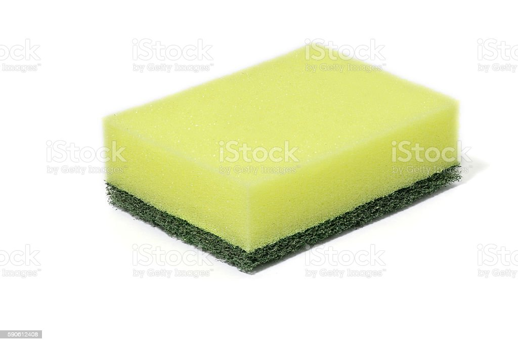 green nylon fibers wool cleaners, sponge for cleaning stock photo