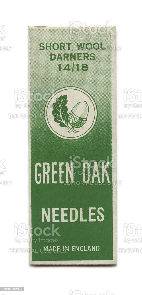 Green Oak needle package stock photo