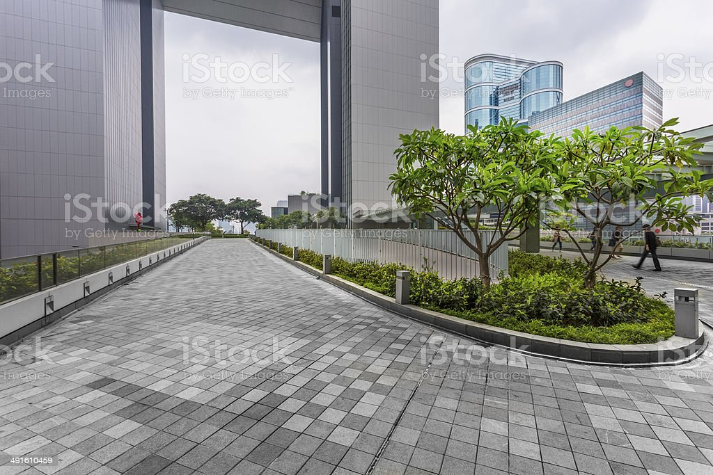 green of office area in hong kong stock photo