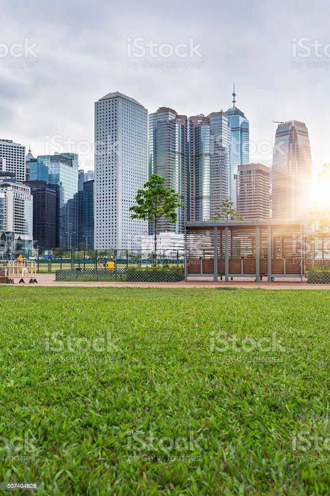green office block of Hong Kong, china.
