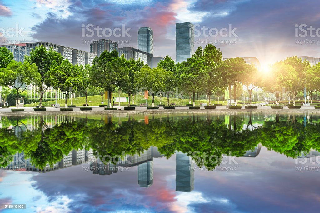green office block of shanghai stock photo