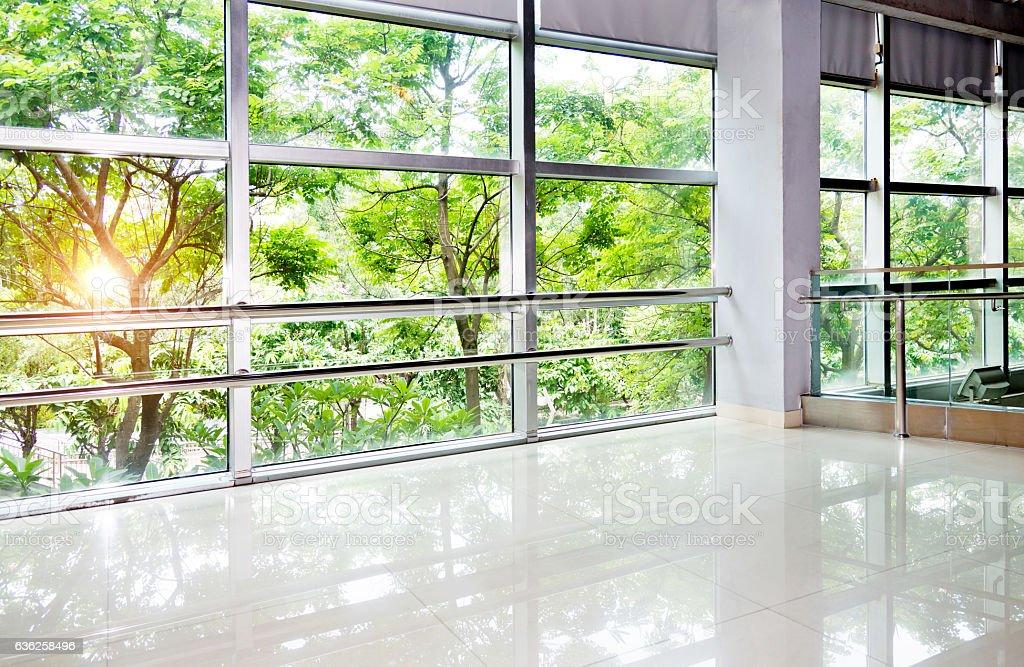 Green office corridor stock photo